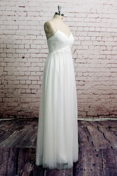 Empire Spaghetti Strap Lace Tulle Wedding Dress_4