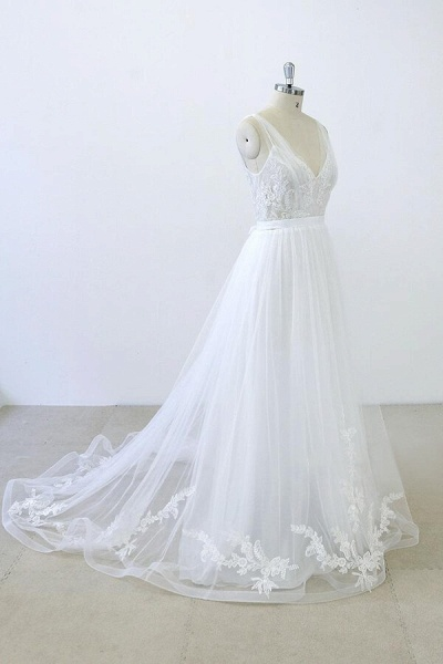 V-neck Ruffle Applqiues Tulle A-line Wedding Dress_5