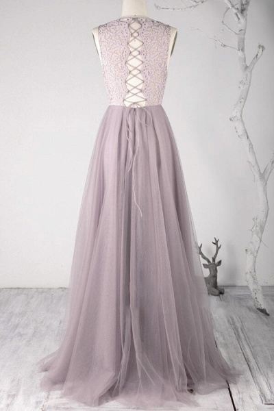 Awesome Lace-up Lace Tulle A-line Wedding Dress_3