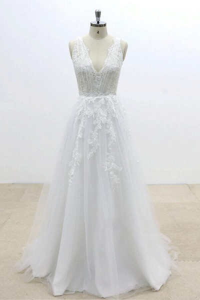 Ruffle V-neck Appliques Tulle A-line Wedding Dress_1