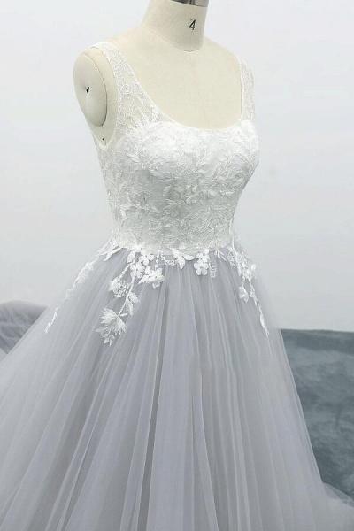 Square Neck Appliques Tulle A-line Wedding Dress_6