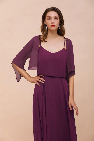 BM1089 3/4 Sleeves Grape Chiffon Special Occasions Wrap_5