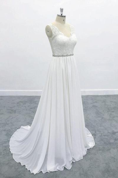 Awesome V-neck A-line Lace Chiffon Wedding Dress_4