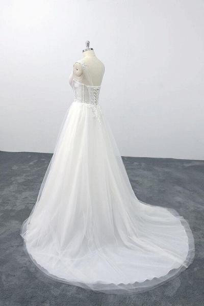 Lace-up V-neck Appliques Tulle A-line Wedding Dress_4