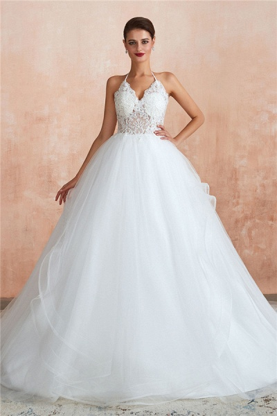 Halter Open Back Appliques Tulle Wedding Dress_2
