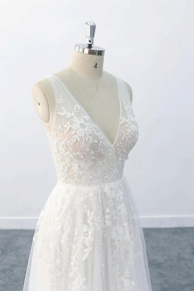 Elegant V-neck Appliques Tulle A-line Wedding Dress_7