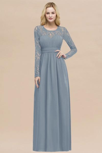 Elegant A-Line Chiffon Jewel Long Sleeves Ruffles Floor-Length Bridesmaid Dresses_40