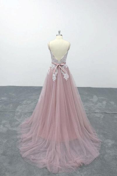 Lace Tulle Spaghetti Strap A-line Wedding Dress_3