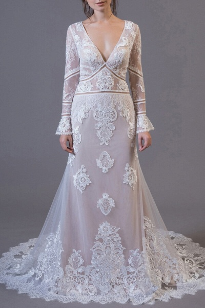 Long Sleeve Appliques Tulle Sheath Wedding Dress_1
