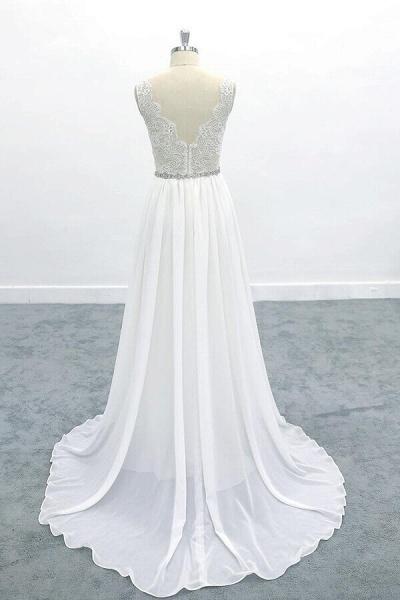 Awesome V-neck A-line Lace Chiffon Wedding Dress_3