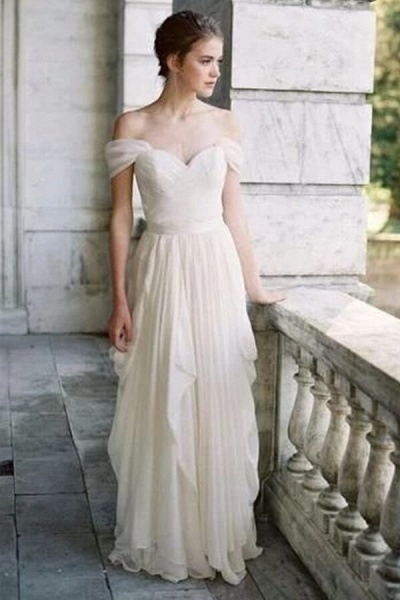 Ruffle Chiffon A-line Off Shoulder Wedding Dress_5