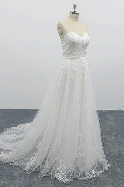Strapless Tulle Chapel Train A-line Wedding Dress_4