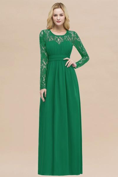 Elegant A-Line Chiffon Jewel Long Sleeves Ruffles Floor-Length Bridesmaid Dresses_49