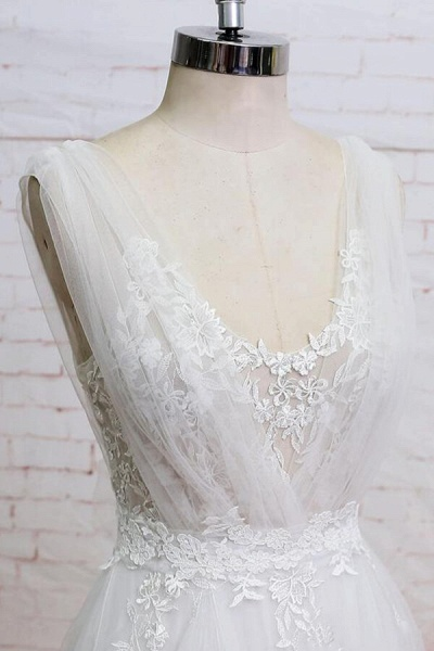 Appliques Tulle Ruffle A-line Wedding Dress_4