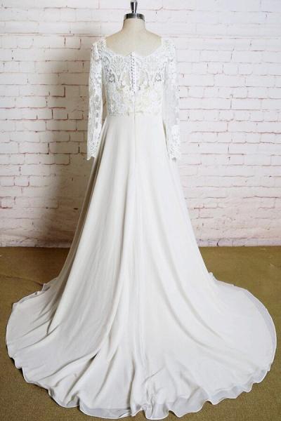 Appliques Long Sleeve Chiffon A-line Wedding Dress_3
