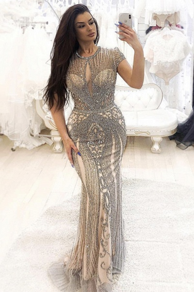 Wonderful Jewel Satin Mermaid Prom Dress_1