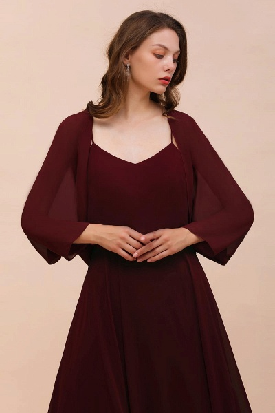 BM1088 Burgundy Long Sleeves Chiffon Special Occasions Wrap_5