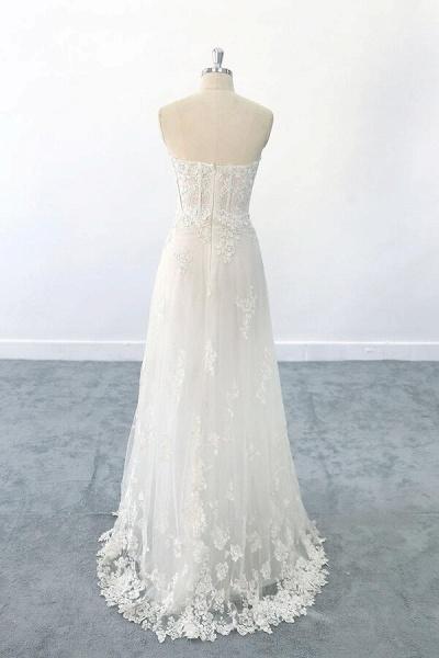 Appliques Strapless Tulle Sheath Wedding Dress_3