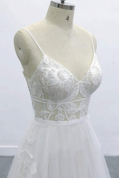 Best Spaghetti Strap Appliques Tulle Wedding Dress_5