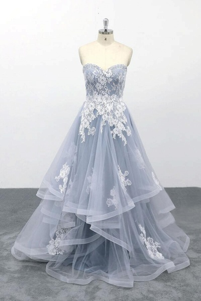 Amazing Strapless Lace Tulle A-line Wedding Dress_1
