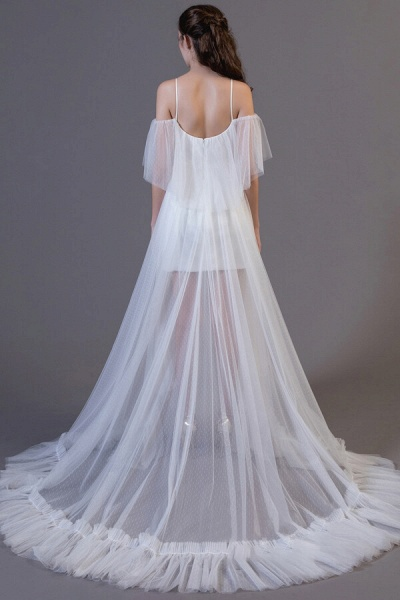 Awesome Cold-shoulder Tulle High-low Wedding Dress_3