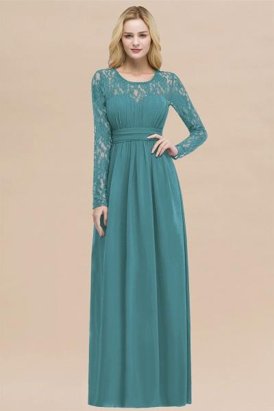 Elegant A-Line Chiffon Jewel Long Sleeves Ruffles Floor-Length Bridesmaid Dresses_32
