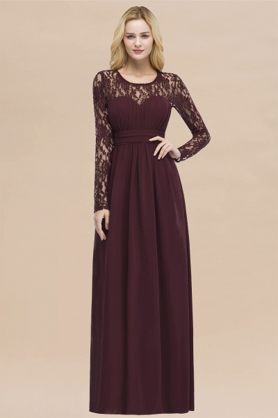 Elegant A-Line Chiffon Jewel Long Sleeves Ruffles Floor-Length Bridesmaid Dresses_47