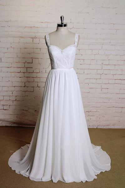 Sweetheart Lace Chiffon A-line Wedding Dress_1