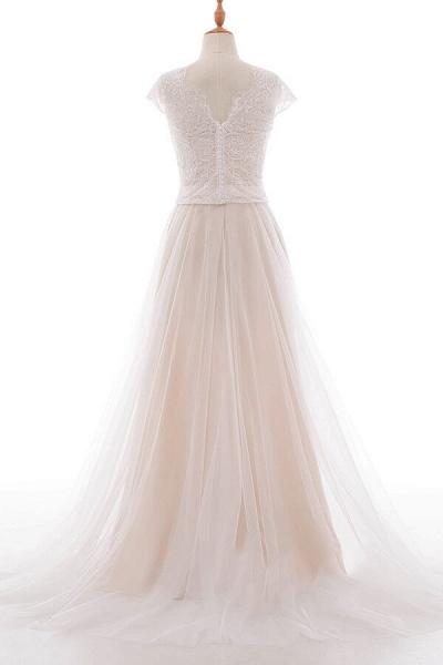 Graceful V-neck Lace Tulle A-line Wedding Dress_3