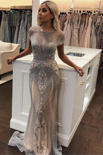 Wonderful Jewel Satin Mermaid Prom Dress_7