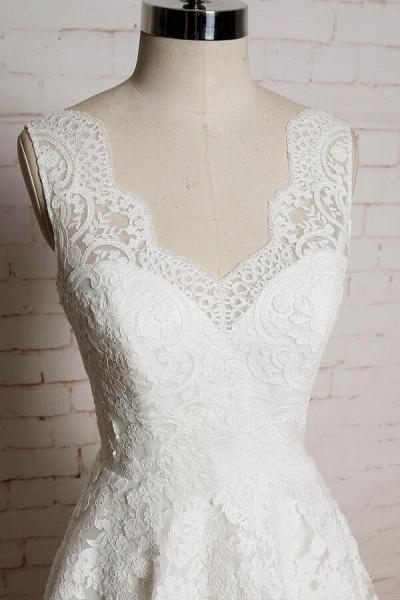 Chic V-neck Appliques Tulle A-line Wedding Dress_4