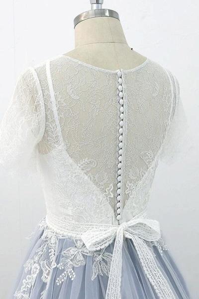 Short Sleeve Appliques Tulle A-line Wedding Dress_8