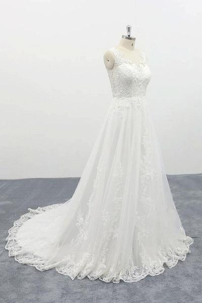 Elegant Appliques Tulle A-line Wedding Dress_4