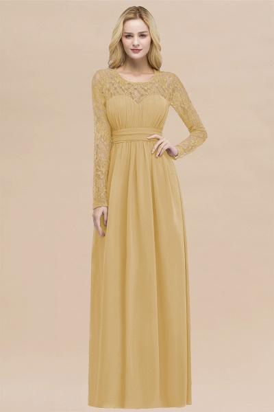 Elegant A-Line Chiffon Jewel Long Sleeves Ruffles Floor-Length Bridesmaid Dresses_13