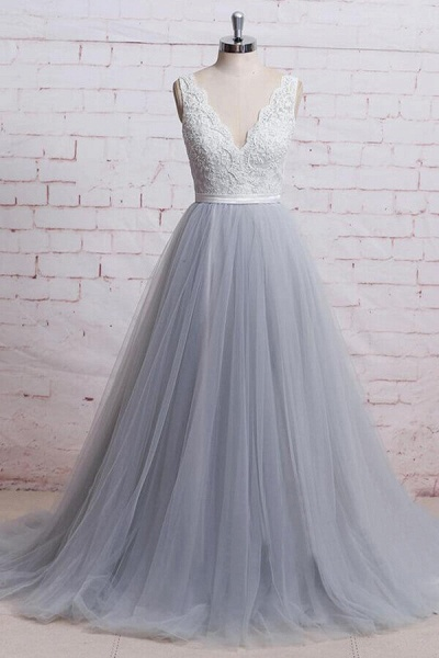 Awesome V-neck Lace Tulle A-line Wedding Dress_1