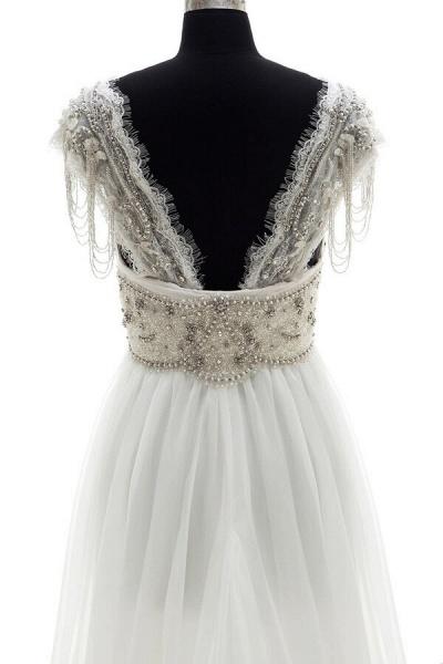 Amazing V-neck Beading Chiffon A-line Wedding Dress_6