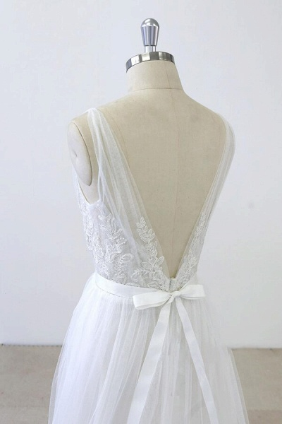 V-neck Ruffle Applqiues Tulle A-line Wedding Dress_7