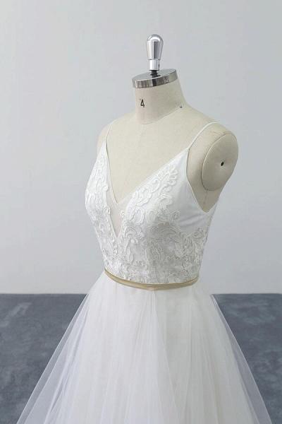 Chic Spaghetti Strap Appliques Tulle Wedding Dress_9