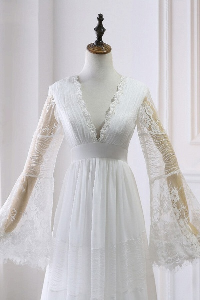 Empire Waist Long Sleeve Lace Tulle Wedding Dress_4