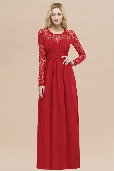 Elegant A-Line Chiffon Jewel Long Sleeves Ruffles Floor-Length Bridesmaid Dresses_8