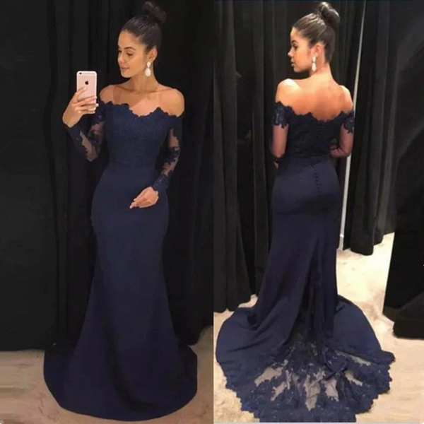 Classic Mermaid Off-the-shoulder Long Sleeves Prom Dresses with Lace_3