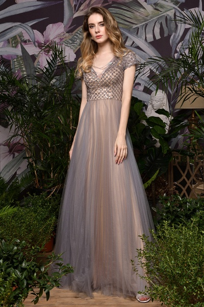 Stunning Short Sleeves Squared Sequined Tulle Prom Dress_4