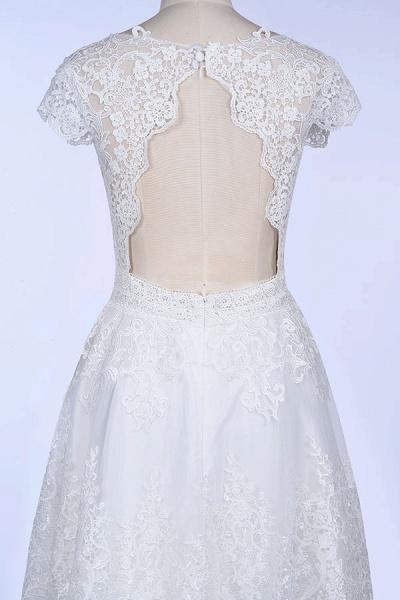 Best Cap Sleeve V-neck Sweep Train Wedding Dress_8