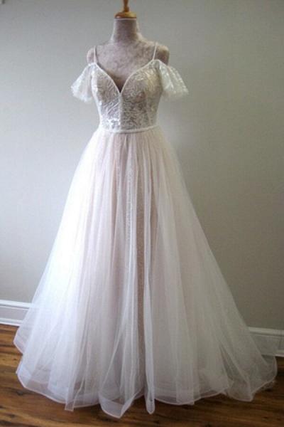 Glorious Cold-shoulder Chapel Train Wedding Dress_2