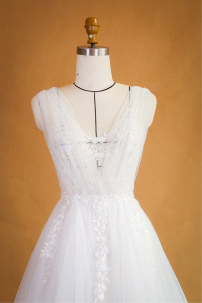 Ruffle Applqiues Tulle A-line Wedding Dress_4