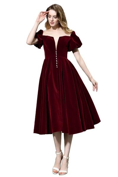 Burgundy Velvet Bubble Sleeve V-neck Short Prom Dress_8