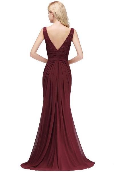 Mermaid Burgundy Chiffon Ruffles Evening Dress_7