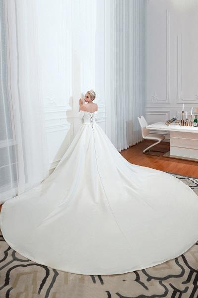 Off Shoulder Lace-up Satin A-line Wedding Dress_9
