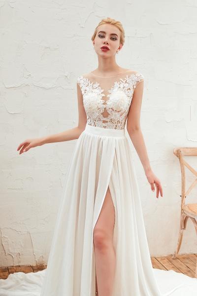 High Slit Appliques Chiffon A-line Wedding Dress_10