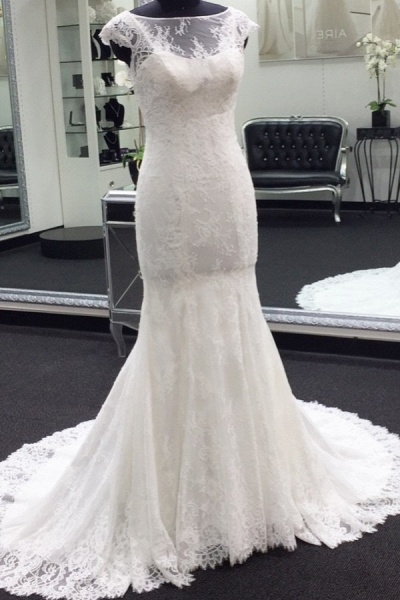 Illusion Cap Sleeve Lace Mermaid Wedding Dress